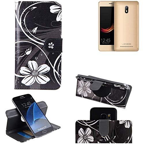 K-S-Trade Schutzhülle Leagoo Z6 Hülle 360° Wallet Case Schutz Hülle ''Flowers'' Smartphone Flip Cover Flipstyle Tasche Handyhülle schwarz-weiß 1x
