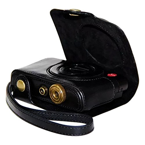 First2savvv XJPT-LF1-01 black full body Precise Fit PU leather digital camera case bag cover with shoulder strap for Panasonic Lumix DMC- LF1 / Leica C