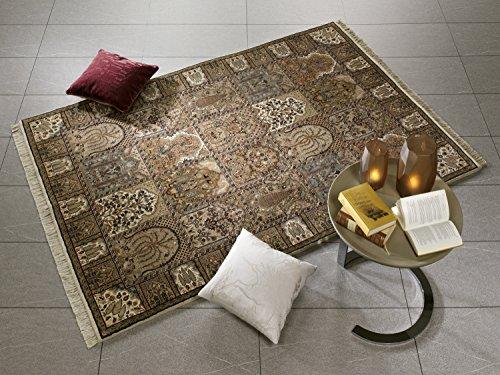 KIAN GHOM echter klassischer Orient-Felder-Teppich handgeknüpft in creme-creme, Größe: 80x300 cm