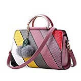 Damen PU Stitching Crossbody Handtasche Schultertasche Anhänger Mode,Rubberred-OneSize