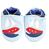 Soft leather baby shoes for Boys by Shoozies - suede soles - Sailing Boats 0-6 months