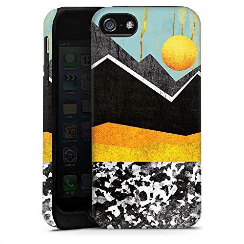 Apple iPhone 4 Housse Étui Silicone Coque Protection Montagnes Ciel Soleil Cas Tough terne