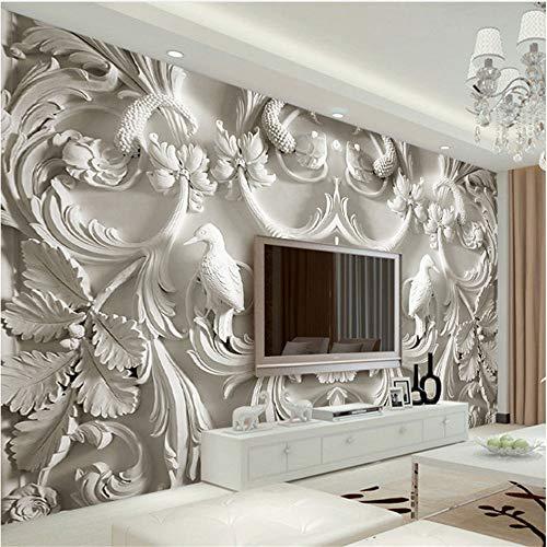 Guyuell Klassischen Weiß Europäischen Stil Relief 3D Stereoscopic Tv Hintergrund Wandbilder Wohnzimmer Hotel Interior Home Decor Tapeten-350Cmx245Cm
