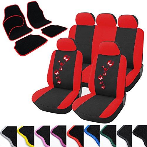WOLTU Housse de siège voiture universelle Housses de protection pour siège Auto avec motif de papillon + tapis de sol voiture Set AS7250+7133 Noir Rouge