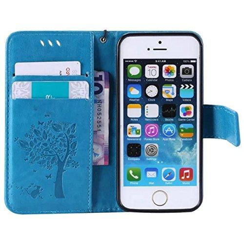 DaYiYang Case Cover IPhone 5 5S SE Fall, einfarbig Premium PU-Leder Etui-Muster-Flip-Standplatz Fall-Abdeckung mit Karte und Bargeldschlitze für iPhone 5 5S SE ( Color : Lavender ) Blue