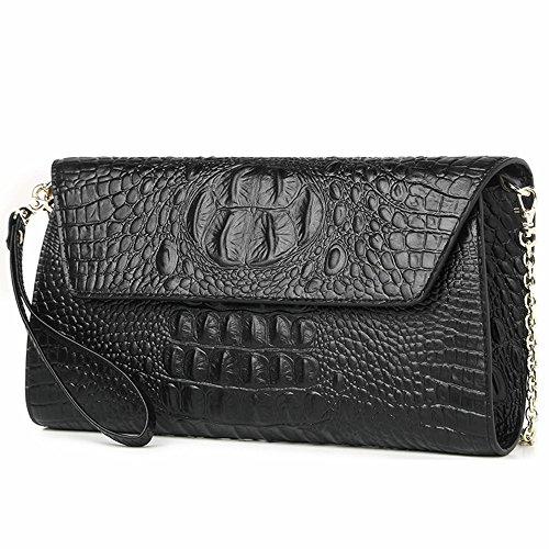 IACON Krokodil Textur Damen Clutch Tasche Leder Mini Geldbörse Brieftasche Handschlaufe Unterarmtasche Schultertasche Handtasche Damentasche Citytasche Abendtasche für Veranstaltung/Fest