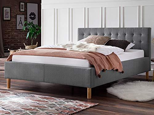 möbelando Polsterbett Einzelbett Bettrahmen Kompaktbett Bettgestell Bett Marsala I Hellgrau 120x200 cm