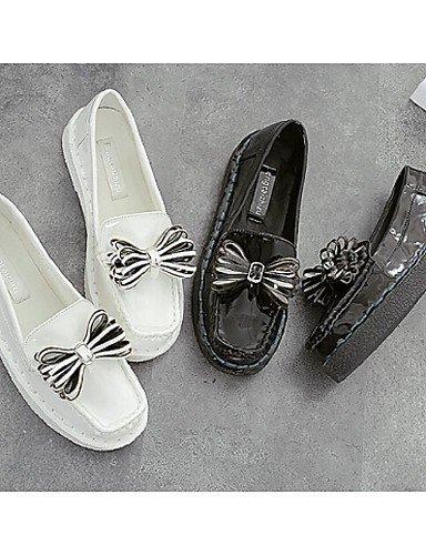 ShangYi gyht Scarpe Donna - Mocassini - Casual - Punta arrotondata/Chiusa - Piatto - Finta pelle - Nero/Bianco Black