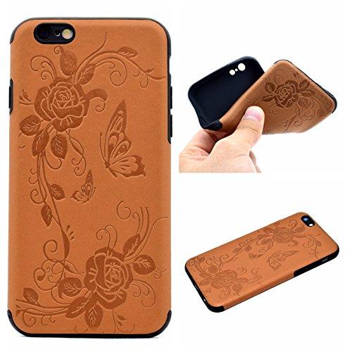 iPhone 6 Plus 5.5 Coque, Voguecase TPU avec Absorption de Choc, Etui Silicone Souple Transparent, Légère / Ajustement Parfait Coque Shell Housse Cover pour Apple iPhone 6 Plus/6S Plus 5.5 (Fleurs de D Papillons IV-Marron