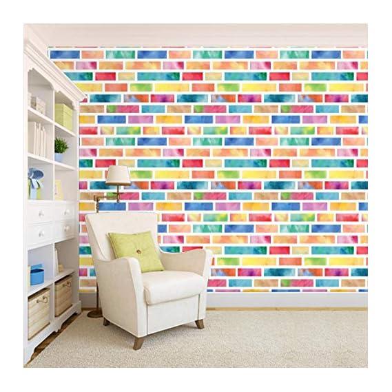100Yellow? Colourful Bricks Self Adhesive Peel & Stick Waterproof Wallpaper For Cafe & Restaurant