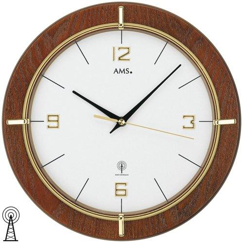 AMS orologio da parete 5832radiocontrollato noce laccato, colore: oro stampato vetro minerale