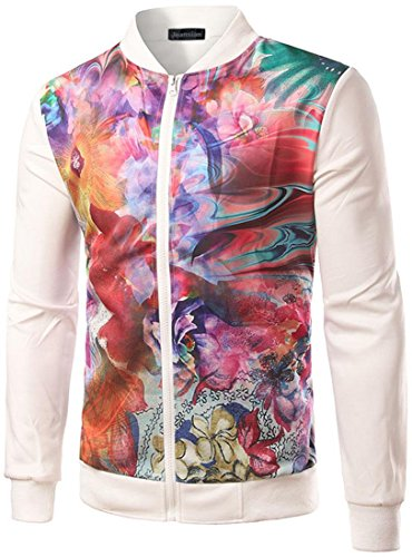 Jeansian Mode Hommes Vestes Casual Impression Jacket Men's Fashion Colorful Printing Windbreaker Sport Outwear 9539 white