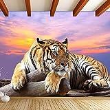Wandgemälde Kundengebundene Tier-Tapeten Des Tiger-3D Große Wandgemälde-Wohnzimmer-Sofa-Hintergrund-Foto-Tapeten-Rolle 3D,60Cm(H)×120Cm(W)