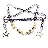 YAZILIND Vintage bijoux Gothic Lolita style réglable chaîne de dentelle noire avec des perles en alliage et étoiles pendentif collier de starter pour les femmes