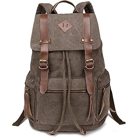iDream - 2014 nouveau sac à dos sac en toile d'épaule pour école hiking camping randonnée voyage etc. - 32cm * 18cm * 43cm - pour ordinateur jusqu'à 14'' (Café)