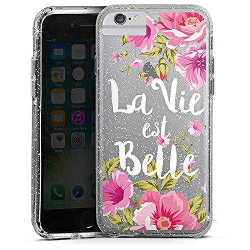 Apple iPhone 6 Plus Bumper Hülle Bumper Case Glitzer Hülle La Vie Est Belle Franzoesisch Blumen Bumper Case Glitzer silber