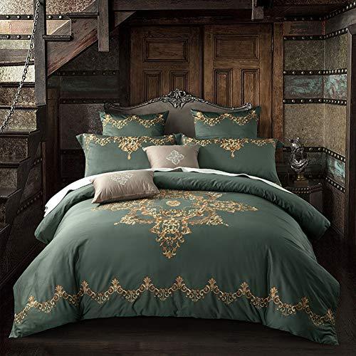 QYZLT Bettdecke mit Baumwolldruck Komfort-Doppelbetten mit Reißverschluss-Bettbezug Besticktes Set,Bronze,98