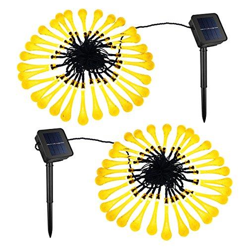 [2 PACK] Catena Solare OMorc Solar String Luminosa Light 30 LED Acqua Goccia Solare Stringa Fata Luci Natale Solar Impermeabili, per Giardino Patio Cortile Casa Albero di Natale Feste