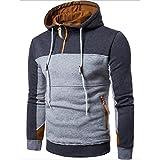 Pullover Herren Mode Patchwork Sweatshirt Lange Ärmel Mantel Outwear (XL, Tief Grau)