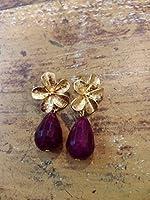 orecchini in ottone lavorato a mano e pietre dure d'agata viola-fucsia sfaccettate