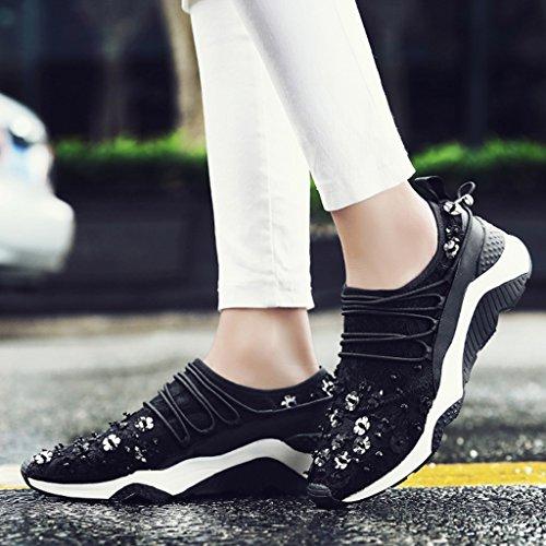 HWF Chaussures femme Été Mesh Chaussures Femelle Respirant Casual Course à Pied Sport Chaussures Épais Bottom Dentelle Plat Femmes Singles Chaussures ( Couleur : Rose , taille : 36 ) Noir