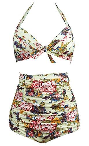 Bademode Size Bikini Plus (Gigileer Vintage 50's Rockabilly Damen Frauen Bademode Bikini Swimsuit High Waisted - Bauchweg - Plus Size beige XXXL)