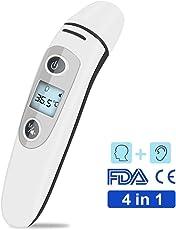 Fieberthermometer für ohr Sofortiges Lesen Stirnthermometer Digital Infrarot Ohrthermometer mit Fieberwarnung für Baby Kinder Erwachsenen, CE/FDA Zertifiziert