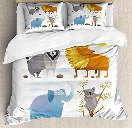ABAKUHAUS Kindergarten Bettbezug Set Doppelbett, Löwe Elefant Waschbär, Kuscheligform Top Qualität 3 Teiligen Bettbezug mit 2 Kissenbezüge, ()