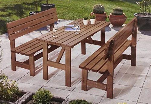 Echtholz Garten Garnitur 3-tlg. 2x Gartenbank 1x Tisch Massivholz Sitzgruppe