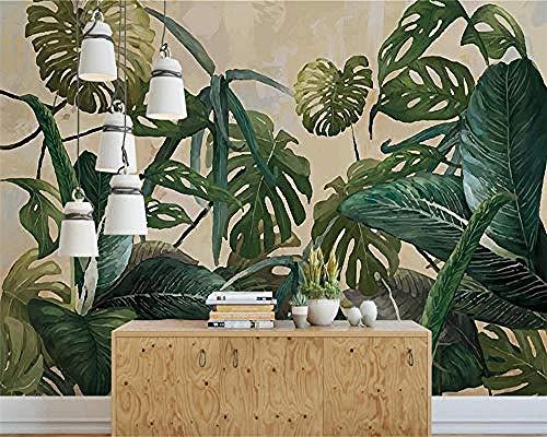 Foto sfondo 3d pianta tropicale foglia verde vigneto sfondo murale muro per pareti 3d carta da parati 3d fotomurali murale adesivo muro adesiva vintage moderna cucina colla camera da-400cm×280cm