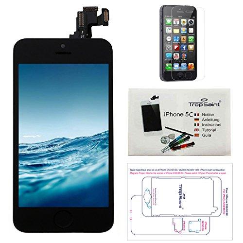 trop saint® Kit de Réparation écran pour iPhone 5C - LCD Noir Complet avec Notice, Outils, Tapis de Repérage Magnetique et Film Protecteur d'écran
