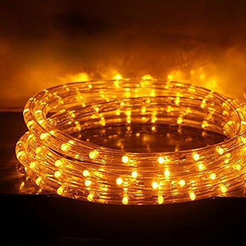 Hengda® 1-50m LED Lichtschlauch Gelb Xmas Innen Außen mit Anschlussset 8 function 230V AC Weihnachten Deko Lichterkette 24 LEDs / m (50m)