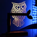 3D Eule LED Lampen, LMRONG 3D Nachtlichter Illusion Lampen LED Schreibtisch Tischlampe Kreative Neuheit Acryl Schlafzimmer Licht (Eule)