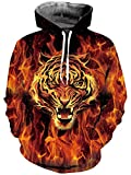 Loveternal Unisex 3D Hoodies Tiger Printed Kordel Tasche Make Up Pullover Sweatshirt für Frauen Männer S