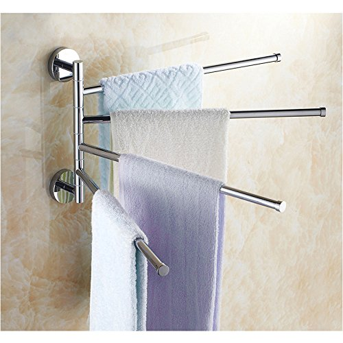 Porta sciugamani a parete in acciaio inox Porta Asciugamani Rack Gancio da muro con 4 braccia Rotazione di 180 ° Bagno Organizzatore