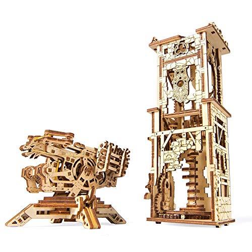 CHENGFUZHANG Geschützturm, beweglich, Holz, mechanisches Getriebemodell, montiertes Spielzeug (Geschützturm)