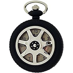 Vintage Race Team Gents Tyre Pocket Watch With 12 Inch Silvertone Chain HM1098