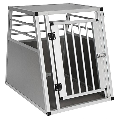 EUGAD Hundebox Autobox Hundetransportbox Transportbox Alubox Reisebox Aluminium 1 Türig 55 * 66 * 75cm