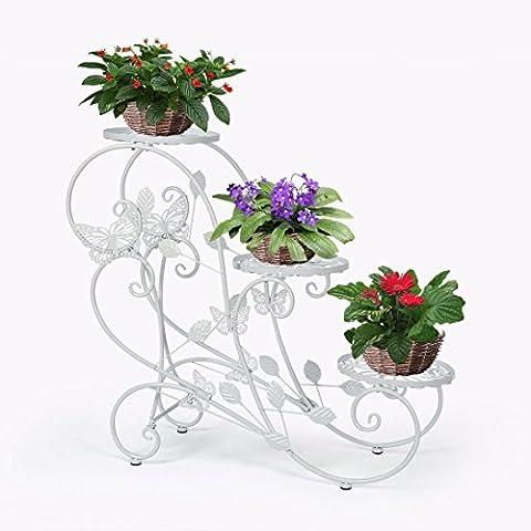 HLC-Blanc Porte Pots Plante Fleurs 3 Etagere Support Jardin en