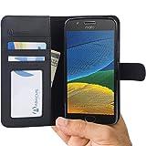 Abacus24-7 Custodia Moto G5, Portafoglio Flip Cover con Chiusura Magnetica, Sopporto Pieghevole e Tasche Interne per Carte di Credito o d'identita - Nero