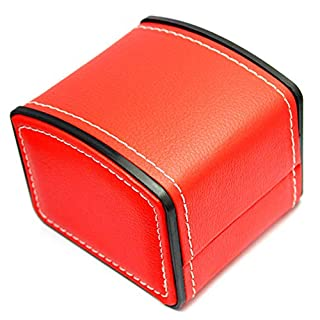 Aikesi Watch Box Bracelet Jewelry Box Advanced Leather Square Gift Box Case Organizer Elasticity Flip Cover (Red)