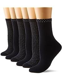 Dim Coton Style Plumetis x 6, Mi Chaussettes Femme, Multicolore (Lot Plumetis Noir), Taille 37-41 (lot de 6)