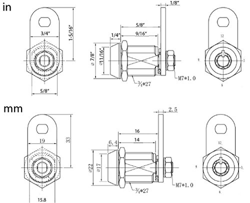 FJM Security MEI-2400AS-KA Tubular Cam Lock with 5/8 Cylinder and Chrome Finish, Keyed Alike by FJM Security