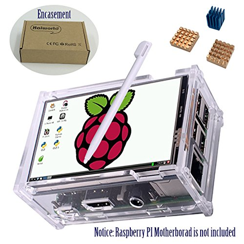 """Haiworld Écran Tactile KIT Pour Raspberry PI 3 2 modèle B B+, 3.5"""" 480x320 RGB Pixels Touchscreen + Housse Transparente + 3pcs dissipateur thermique + Touch Pen"""
