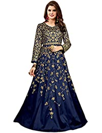 Shoppingover New Stylish Party wear Pakistani New Anarkali Dress Material-Blue Color