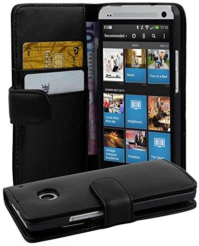 Cadorabo ! PREMIUM - Buch Style Hülle im Portemonnaie Design für HTC ONE (M7 - 1.Generation) in KAVIAR-SCHWARZ