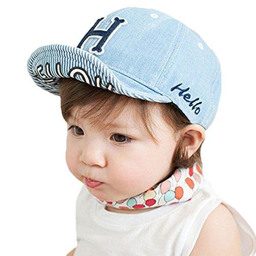 Millya Unisex Bebé Niños Primavera Otoño Moda ajustable Demin visera gorra de béisbol azul azul claro Talla:1-3 years old