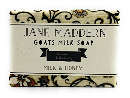 Jane Maddern Handmade Goats Milk Soap - Milk and Honey, 90g. A traditionally made, nourishing and moisturising soap. Top quality, ethically sourced ingredients including full cream goats milk, coconut oil, shea butter and olive oil. Suitable for all skin