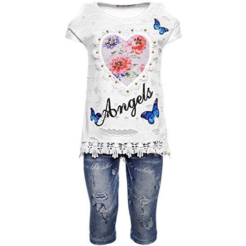 2tlg Mädchen Set Capri-Hose T-Shirt Outfit 21772, Farbe:Weiß, Größe:104 (Sommer Capri Outfit Set)