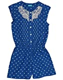 A blue romper with white polka dots and ...